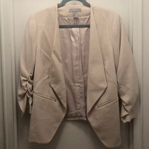 Cream Blazer with Ruched Sleeves